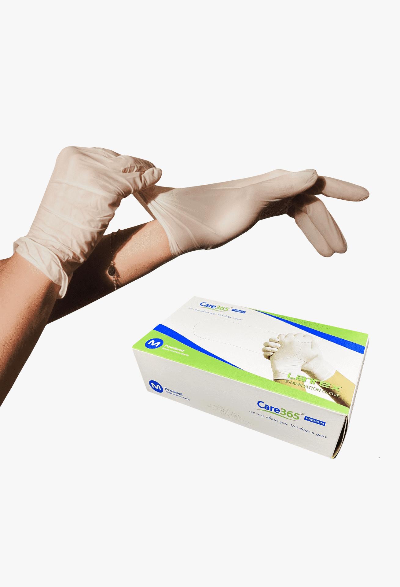 Рукавички латексні опудрені Care 365, L (100шт.)