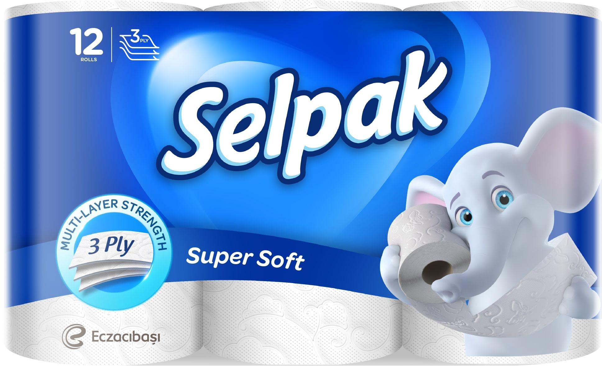 SELPAK Папiр туалетний  білий, 12шт.