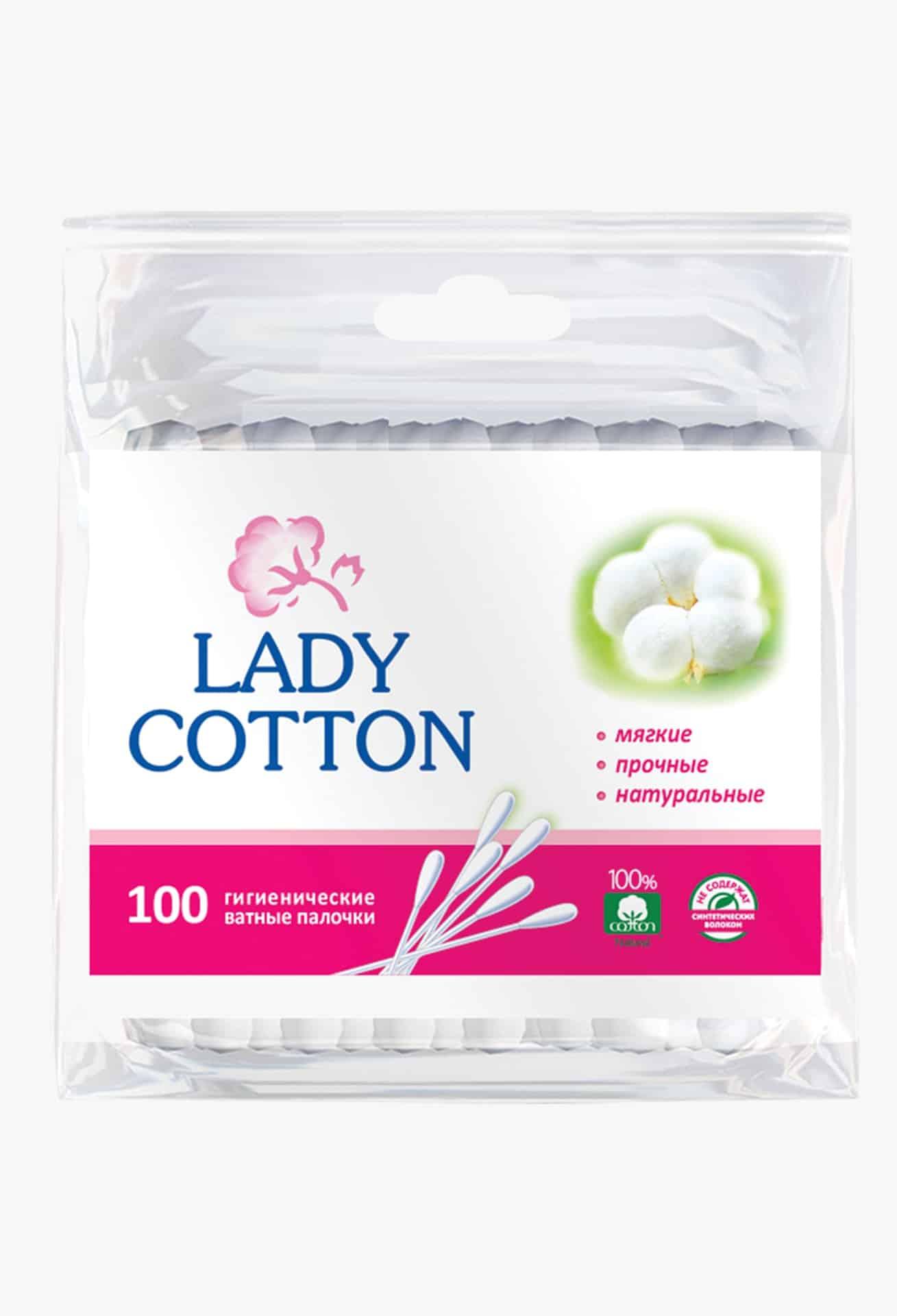 Lady Cotton Палички ватні в поліетиленовому пакеті, 100шт.