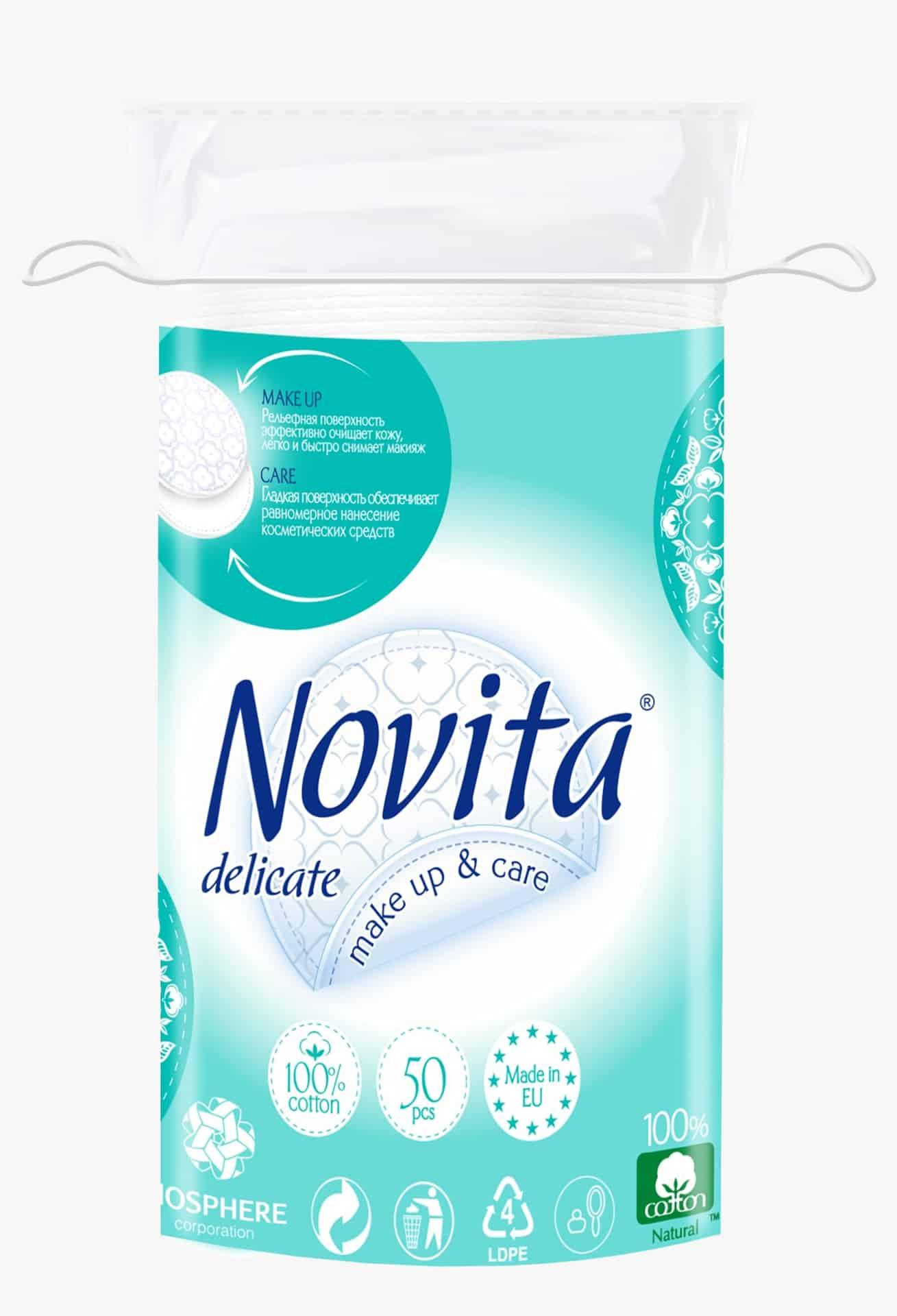 NOVITA Delicate Диски ватні косметичні, 50шт.
