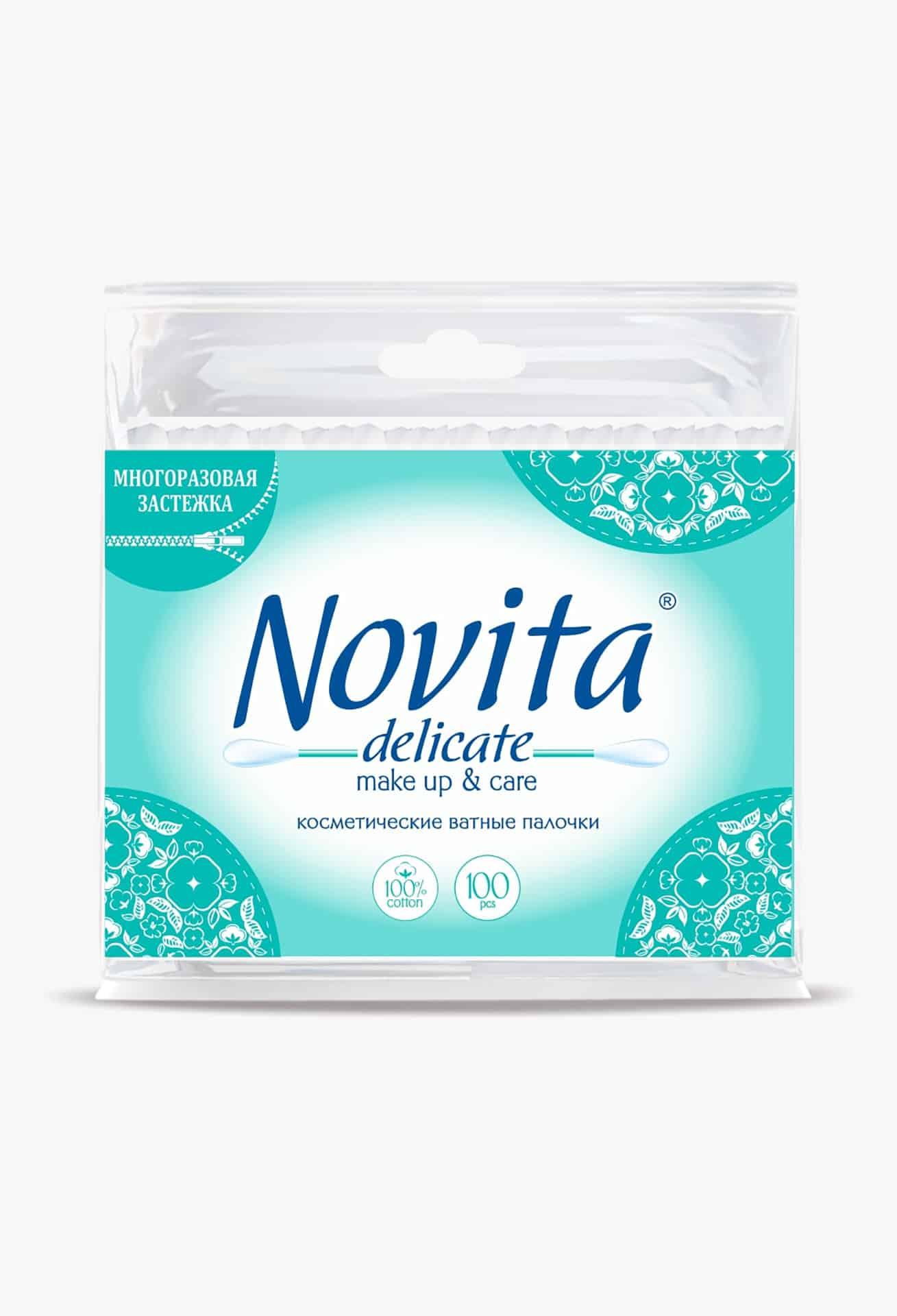NOVITA Delicate Палички ватні в поліетиленовому пакеті, 100шт.