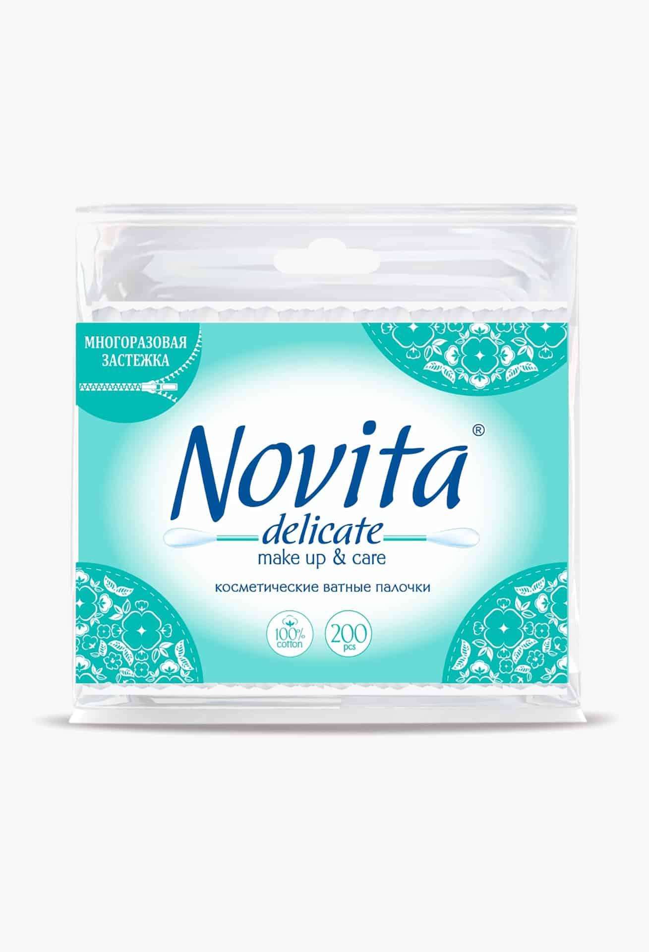 NOVITA Delicate Палички ватні в поліетиленовому пакеті, 200шт.