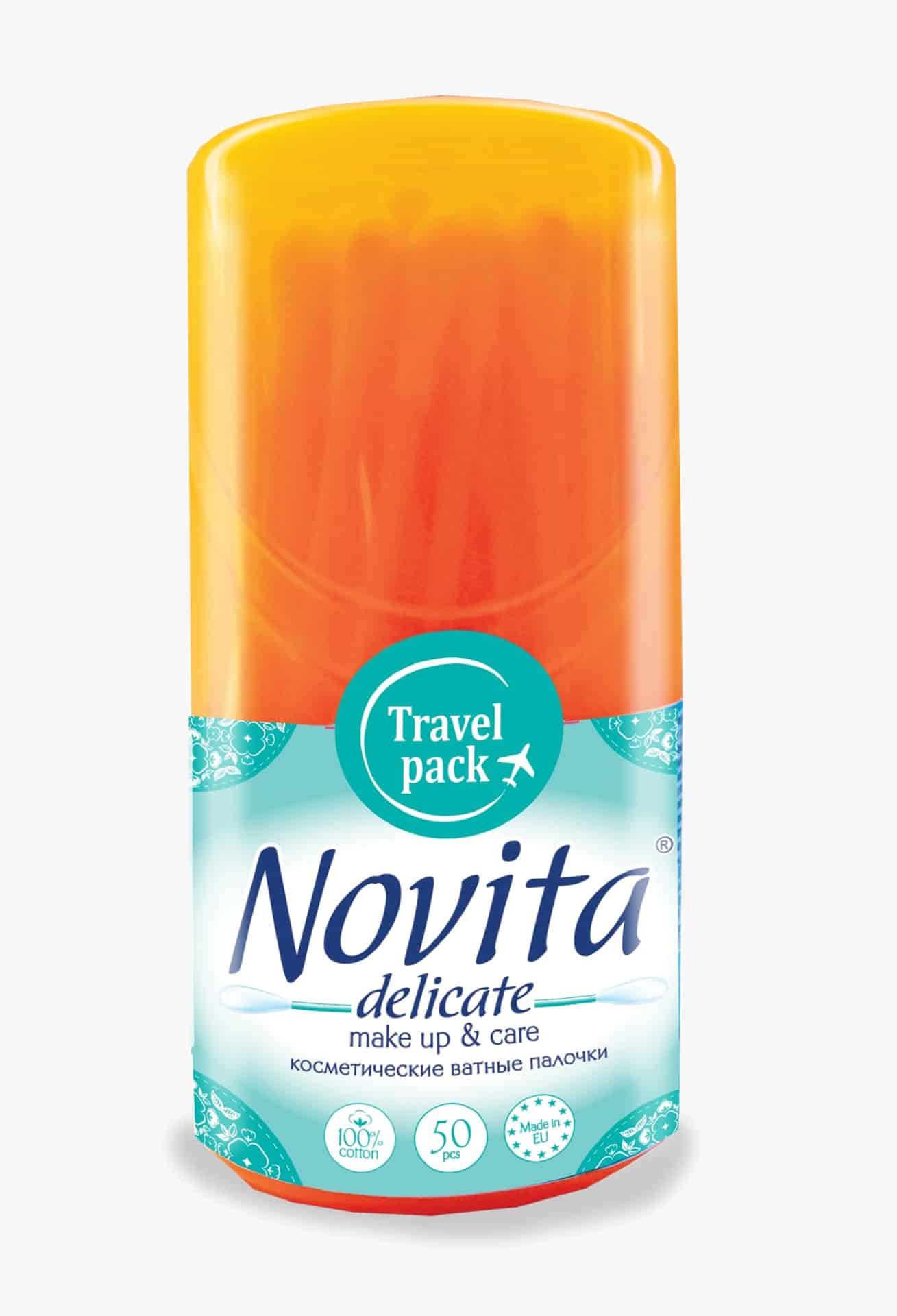 NOVITA Delicate Палички ватні в круглiй банці, моноблок, 50шт.
