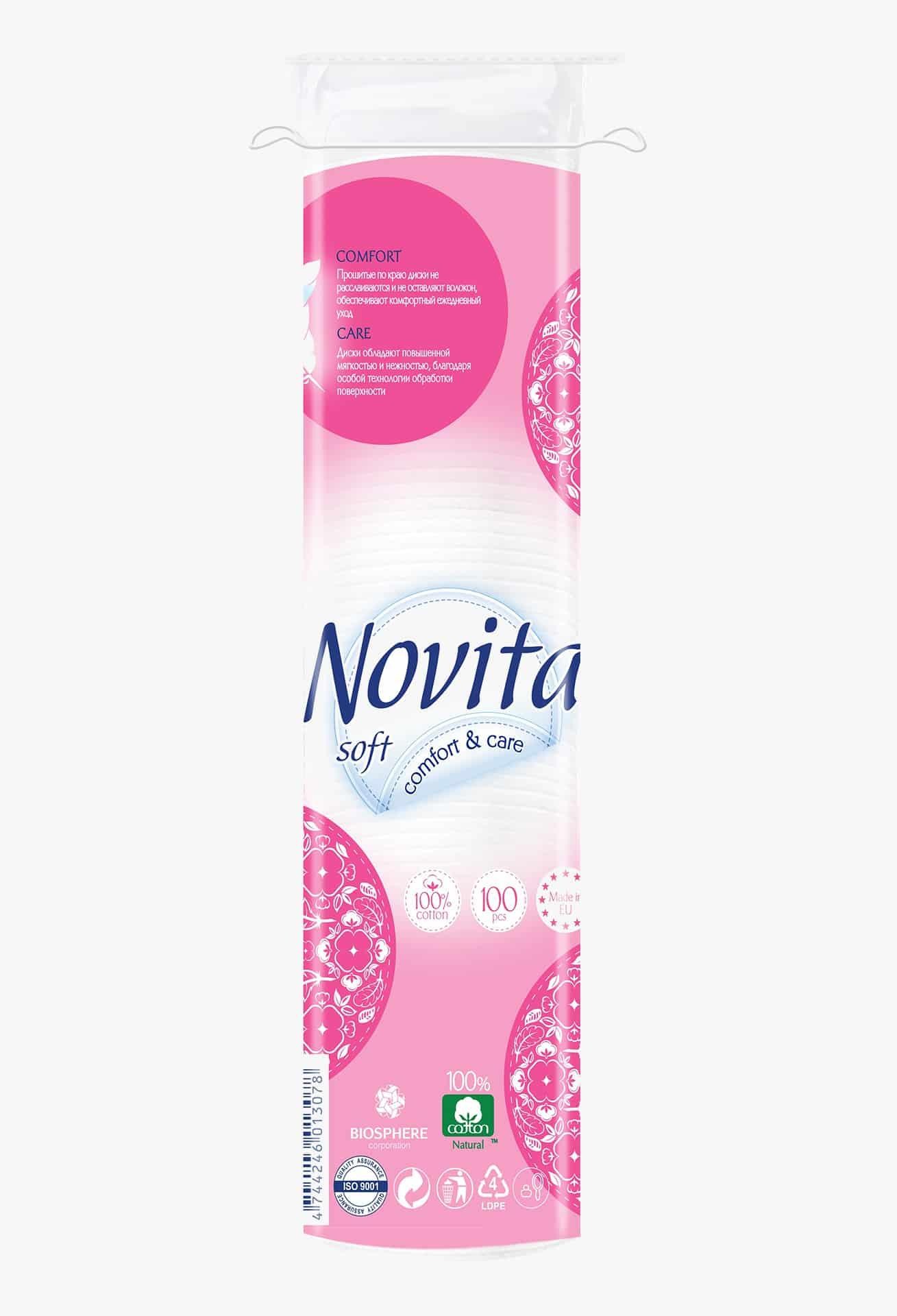 NOVITA Soft Диски ватні косметичні, 100шт.