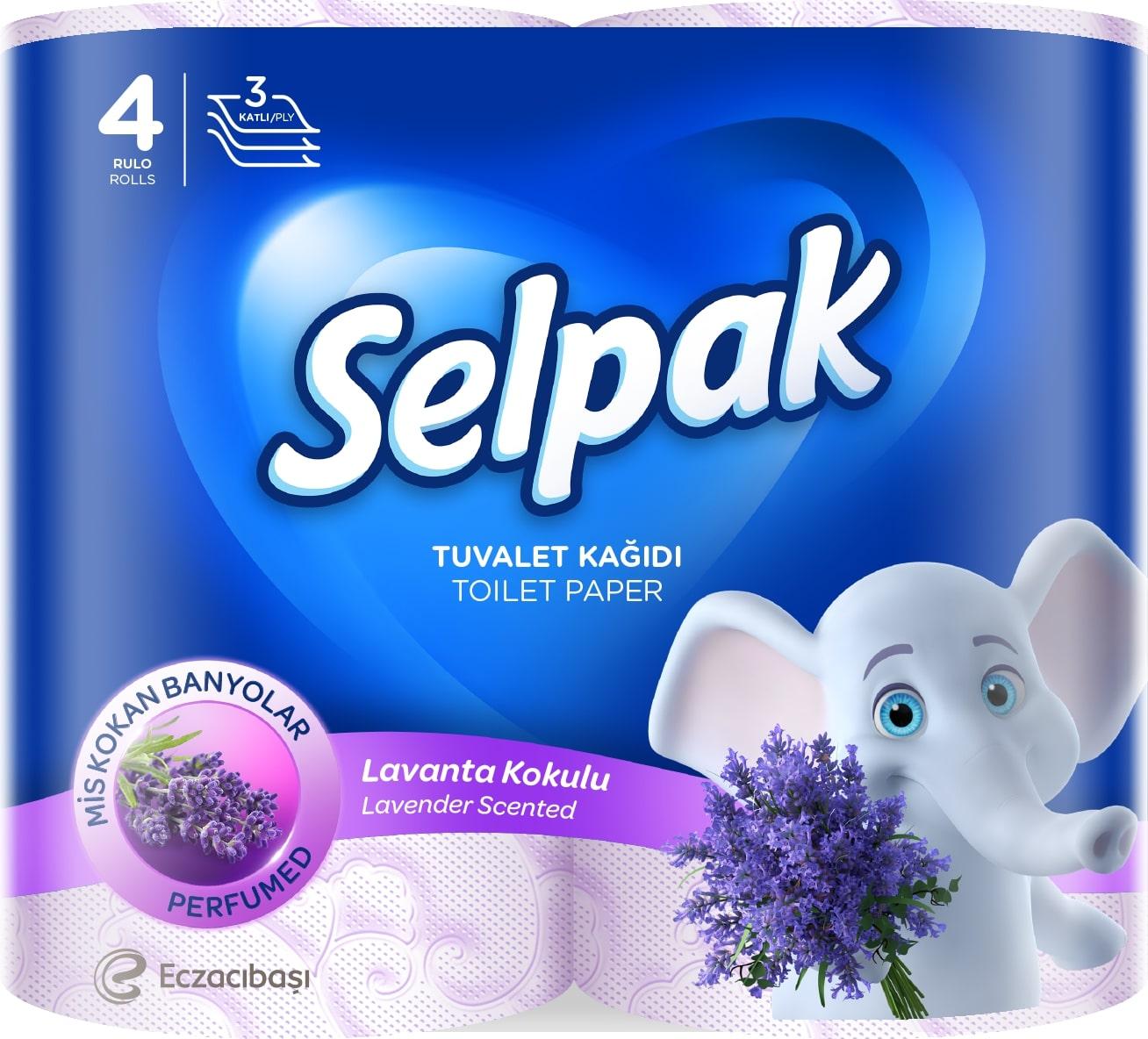 """SELPAK Папiр туалетний Perfumed, кольоровий, з аром. """"Лаванда"""", 4шт."""