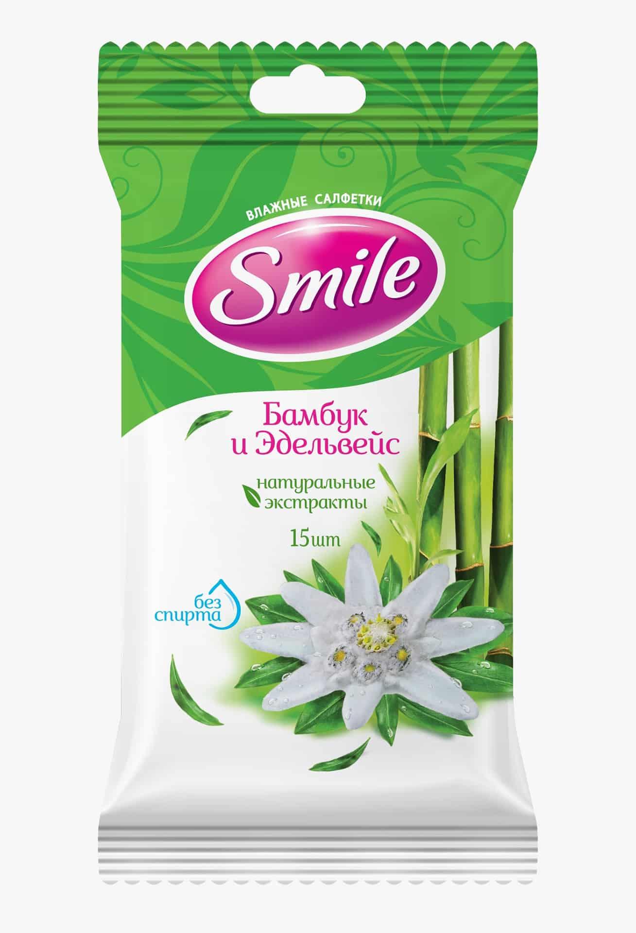 SMILE Daily Серветка волога Бамбук і Едельвейс, 15шт.