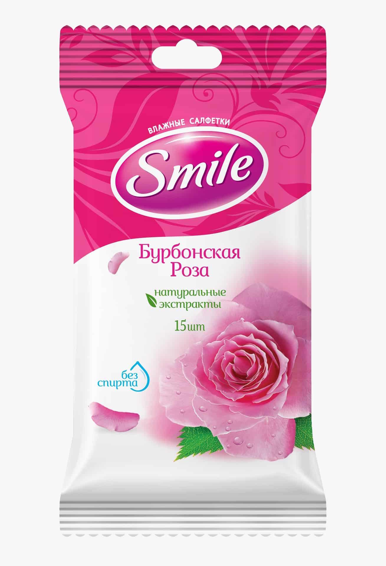 SMILE Daily Серветка волога Бурбонська троянда, 15шт.