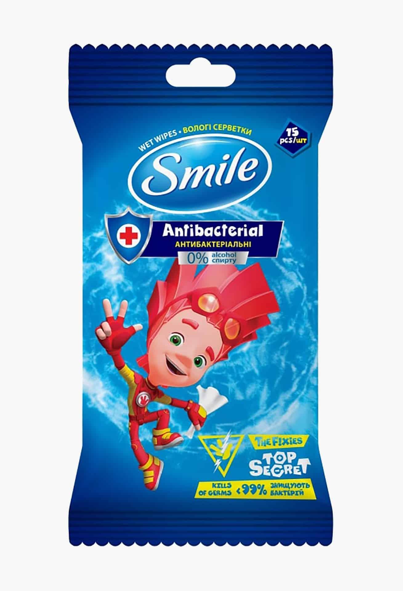 """SMILE Серветки вологі """"Фіксики"""" антибактеріальні (3 дизайни) 15 шт єврослот"""