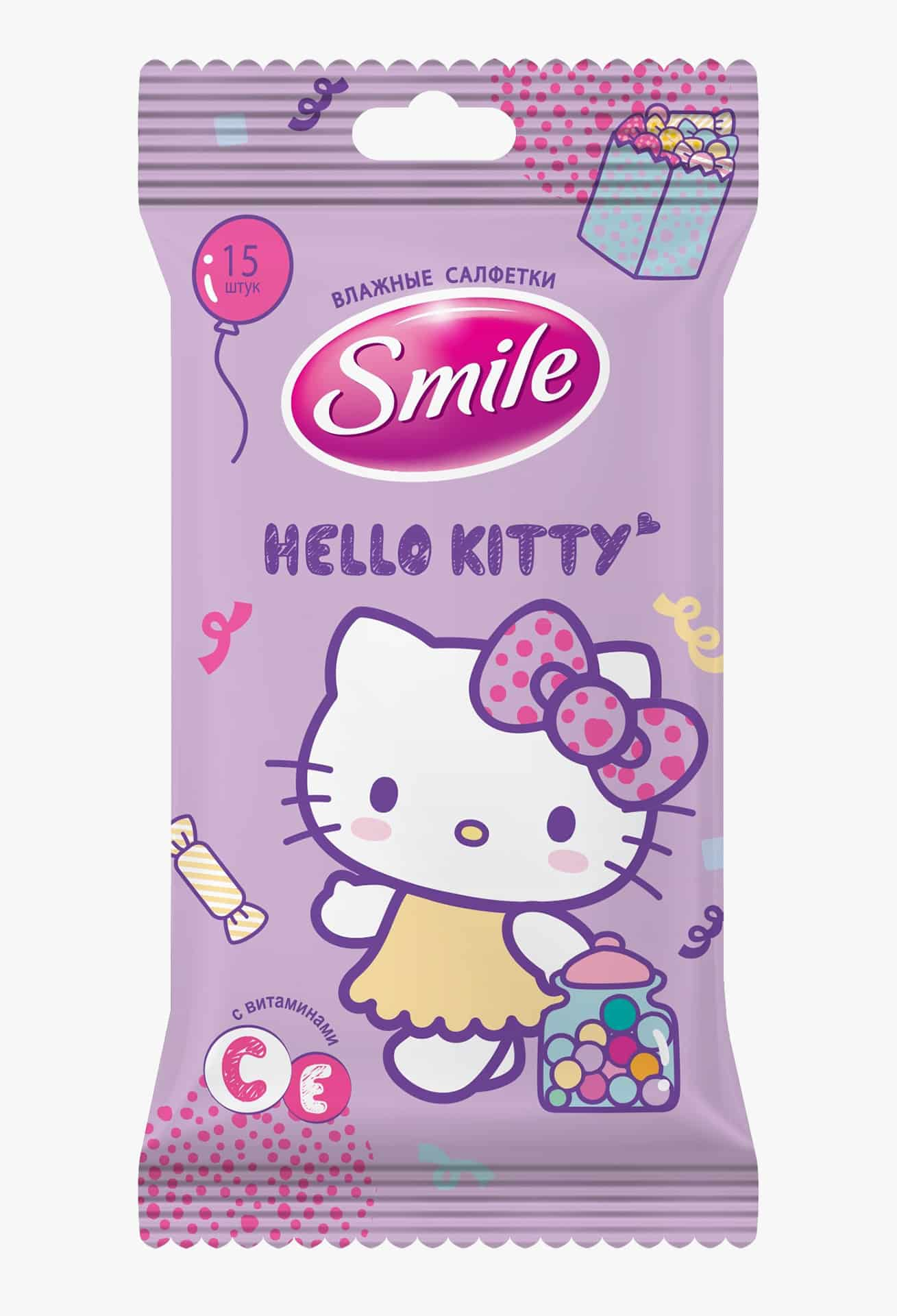 SMILE Серветка волога Hello Kitty MIX, 15шт.
