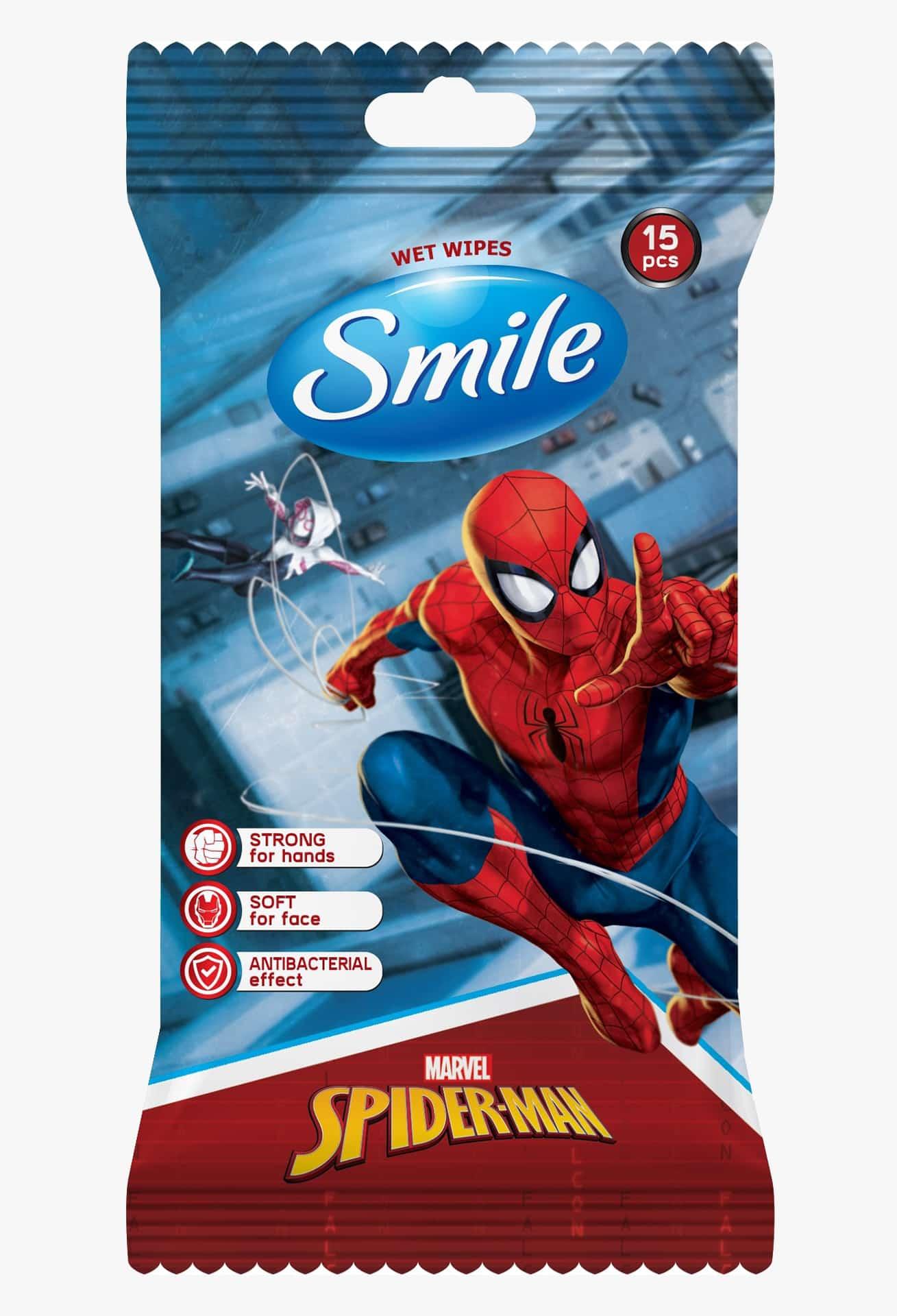 """SMILE Серветка волога """"MARVEL"""" MIX антибактеріальна, 15шт."""