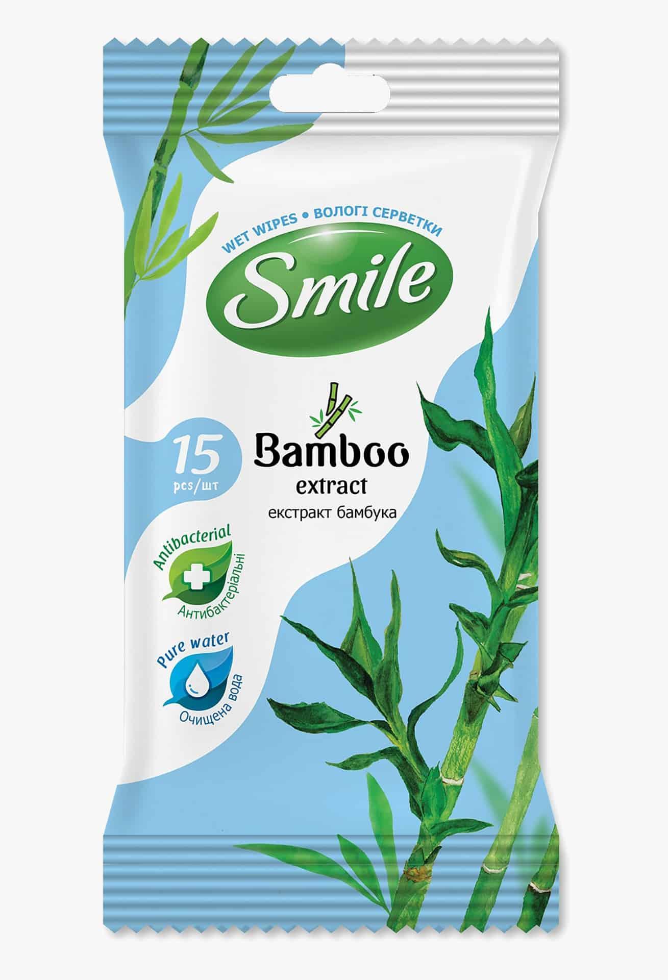 SMILE Серветка волога з екстрактом бамбука, 15шт.