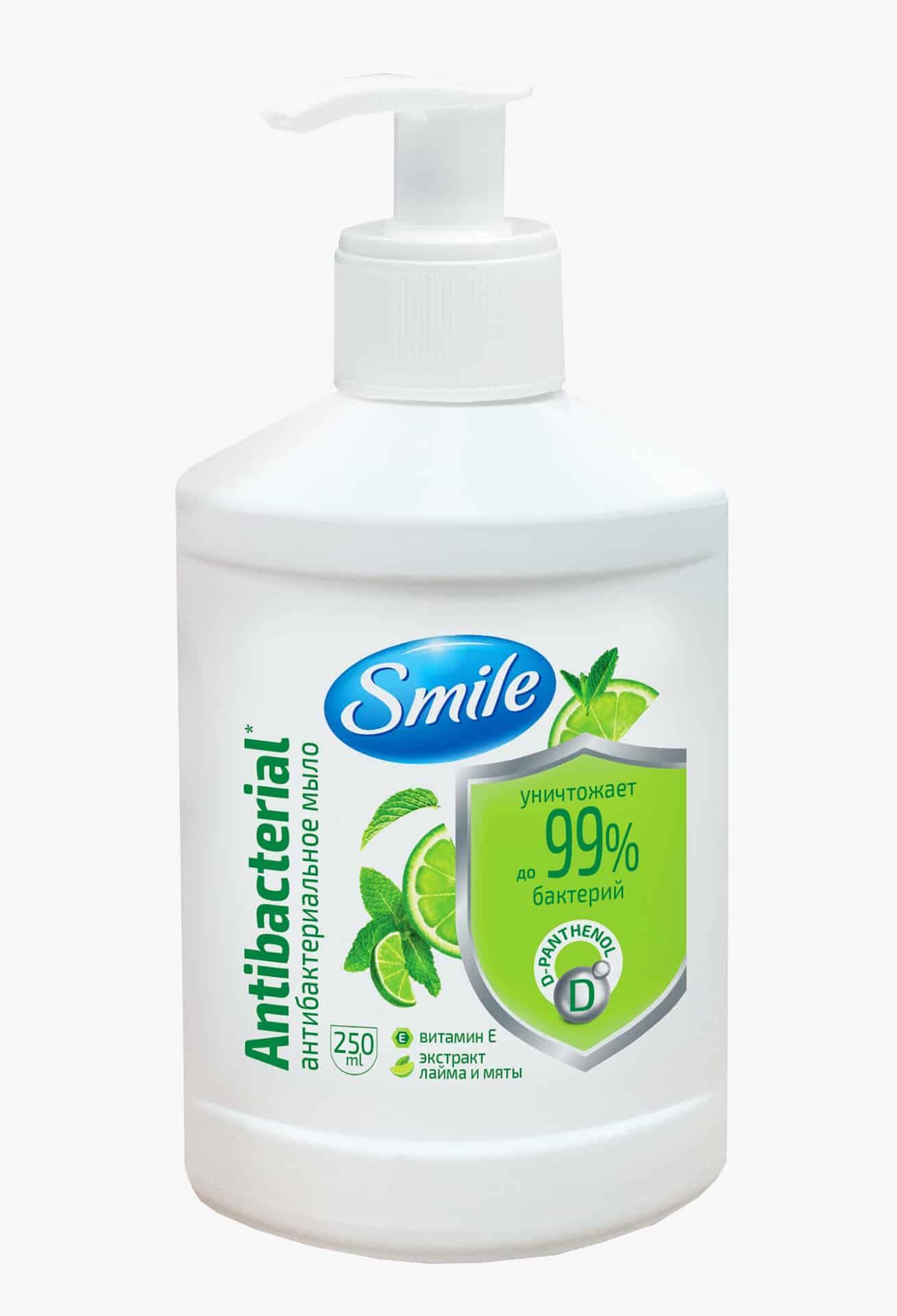 SMILE мило з антибактеріальним ефектом, з екстрактом лайма та м'яти, 250мл