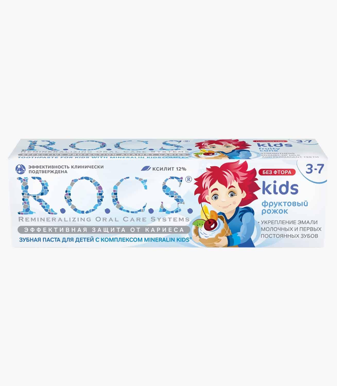 """Зубна паста """"R.O.C.S. для детей Фруктовый рожок (без фтора)"""", 45гр"""