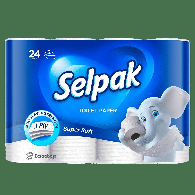 SELPAK Папiр туалетний, білий, 24шт.