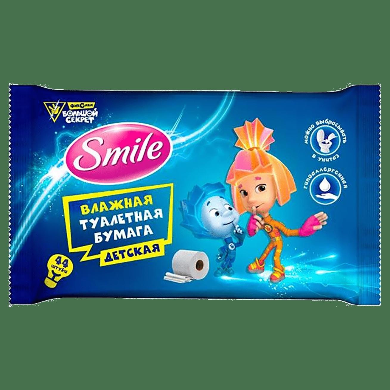 """Smile дитячий вологий туалетний папір """"Фіксики"""" з клапаном, шоу-бокс, 44шт."""