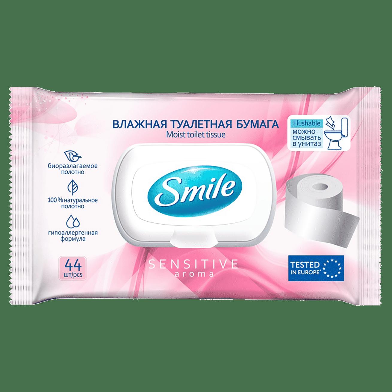 """Smile вологий туалетний папір для дорослих """"Sensitive"""" з клапаном, шоу-бокс, 44шт."""