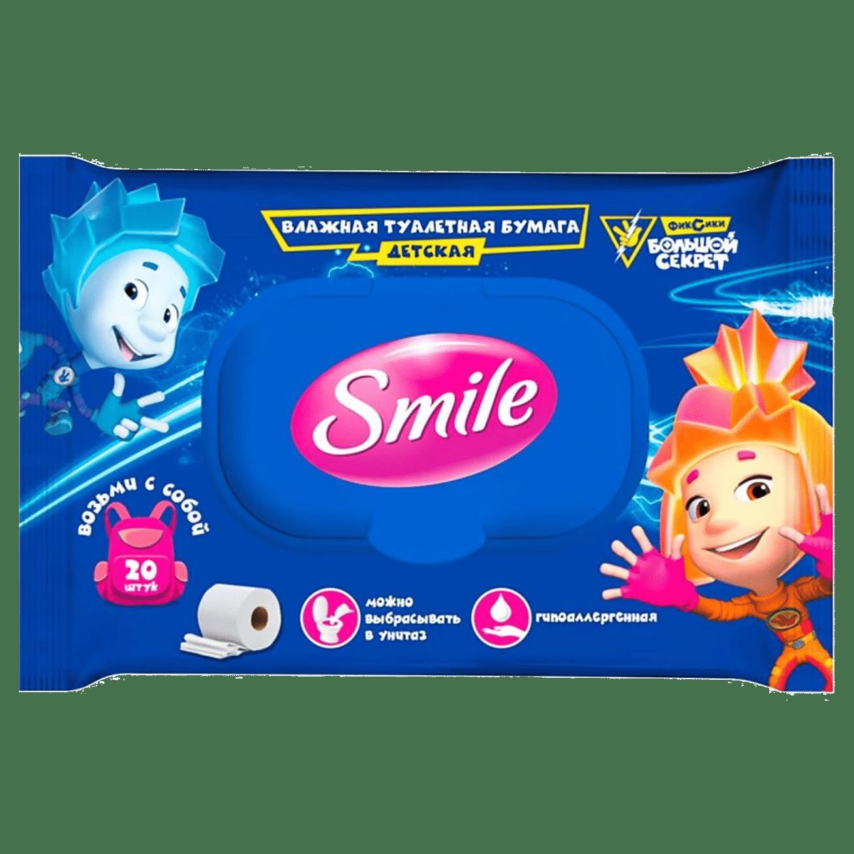 """Smile дитячий вологий туалетний папір """"Фіксики"""", клапан, шоу-бокс, 20шт."""